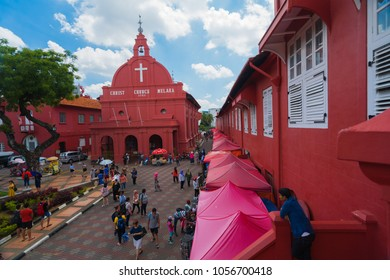 Malacca,Malaysia-MAC 29th 2018:Beautiful landscape view of Christ Church In Malacca city.It was built in 1753 by Dutch & is the oldest 18th century Protestant church in Malaysia.