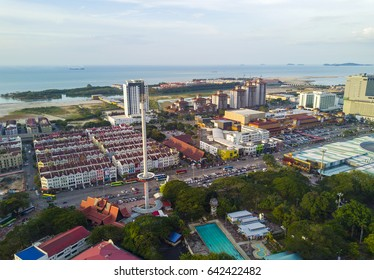 MALACCA,MALAYSIA-March 6,2017:Arial View of Menara Taming Sari Tower .Malacca City is the capital city of the Malaysian state of Malacca.It was listed as a UNESCO World Heritage Site on 7 July 2008.