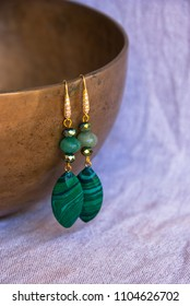 Malachite earrings. Handmade jewelry of  gem  luxury accessory.