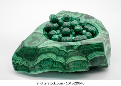 Malachite marbles with white background