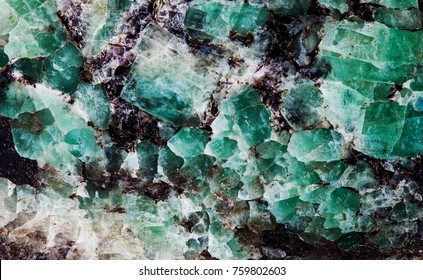 Malachite in mica group of sheet silicate minerals. Natural decorative stone texture pattern macro view photo
