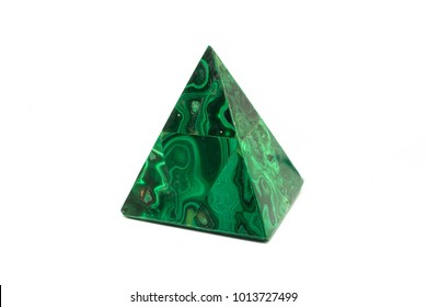 Malachite shape pyramid, mineral stone isolated on a white background.