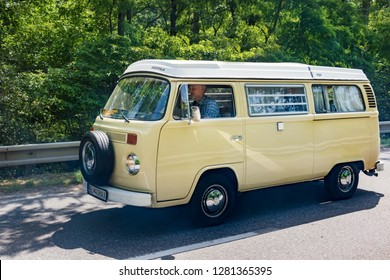 MALACKY, SLOVAKIA – JUNE 2 2018:  Volkswagen Microbus with the Westfalia camper conversion takes part in the run during the veteran car rally Kamenak 2018 at the Kamenny mlyn roadhouse