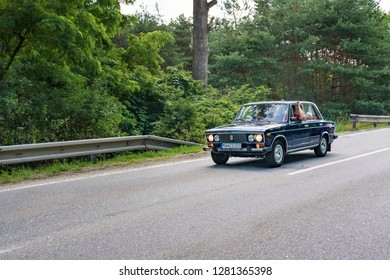 MALACKY, SLOVAKIA – JUNE 2 2018:  Lada 21061 takes part in the run during the veteran car rally Kamenak 2018 at the Kamenny mlyn roadhouse