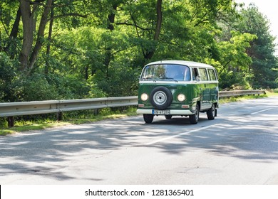 MALACKY, SLOVAKIA – JUNE 2 2018:  Volkswagen Microbus takes part in the run during the veteran car rally Kamenak 2018 at the Kamenny mlyn roadhouse