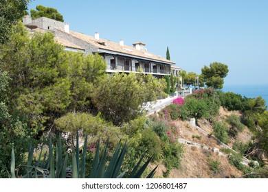 MALAGA, ANDALUCIA, SPAIN - AUGUST 11, 2018: Hotel on Mount Gibralfaro.