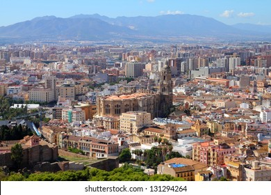 Malaga in Andalusia region of Spain. Aerial view from Gibralfaro mountain.