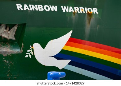 "Malaga, Andalusia, Spain - July 25 2019. Greenpeace ship ""Rainbow Warrior"" with logo docked in the port of Malaga"