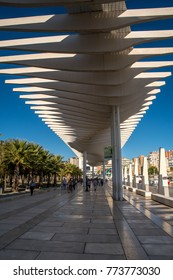 MALAGA, ANDALUSIA / SPAIN - OCTOBER 05 2017: PEDESTRIAN ROAD AT THE PORT