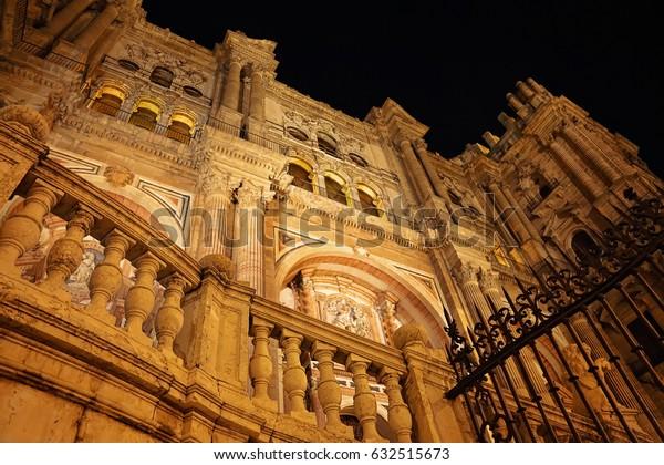 Malaga Cathedral, Basílica de la Encarnacion at night