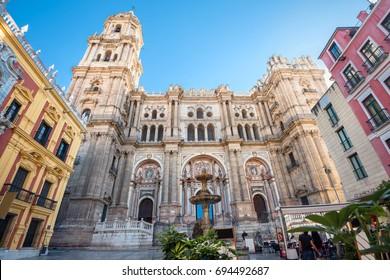 Malaga cathedral on Plaza del Obispo. Malaga, Andalusia, Spain