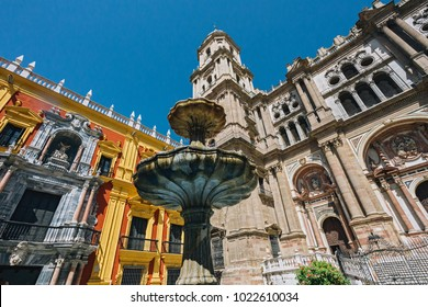 Malaga Central Cathedral and fountain, Spain, Andalusia