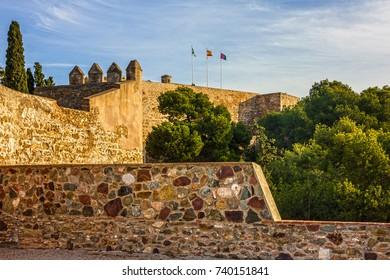 Malaga city, Spain. Gibralfaro Castle, fortress architecture