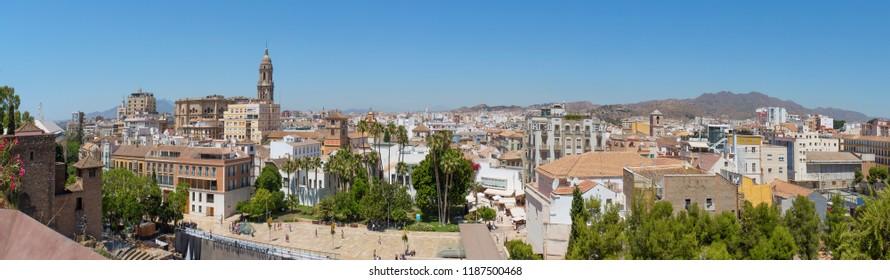 Malaga downtown skyline, Spain. Panoramic shot