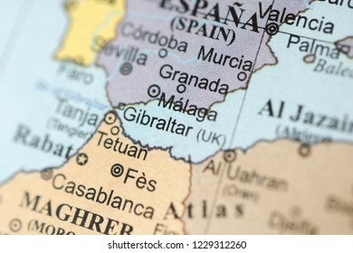 Malaga. Europe on a geography map