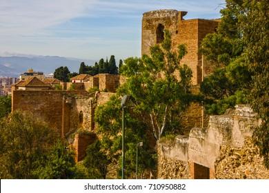 Malaga fortress, Spain, Gibralfaro Castle architecture