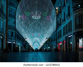 MALAGA - JAN 17 : Scene view of downtown decorated by Christmas lights, on January 17, 2018, in Malaga, Andalusia, Spain