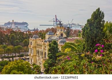 Malaga landscape, Spain. Port sea view