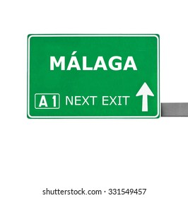 MALAGA road sign isolated on white