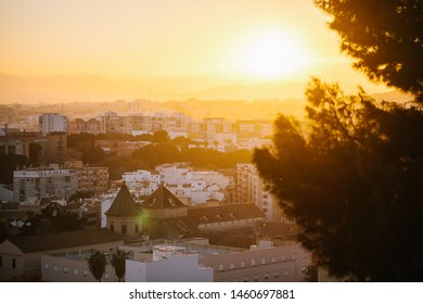 Malaga skyline in a overwhelming sunset