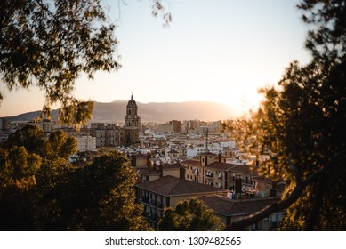 Malaga skyline at sunset
