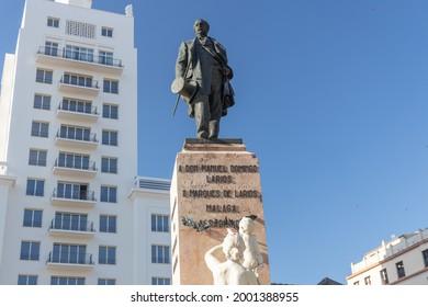 Malaga, Spain; 01 07 2021; Larios de Marques sculpture located in Larios street in Malaga city