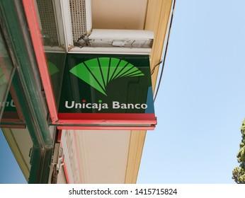 malaga/ Spain - 06-01-2019 : sign of Unicaja a major Spanish savings bank.