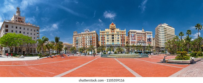 MALAGA, SPAIN - 11 MAY, 2018: Panoramic view at the square at the port in Malaga.