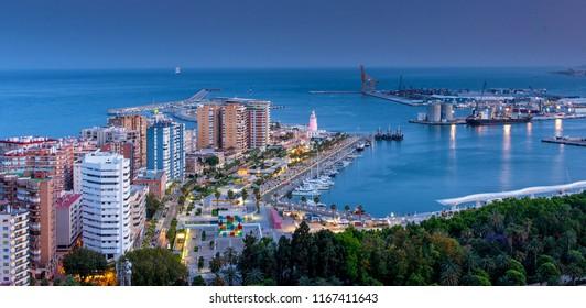 MALAGA, SPAIN - 11 MAY, 2018: Port of Malaga in dusk on 11 May, 2018.