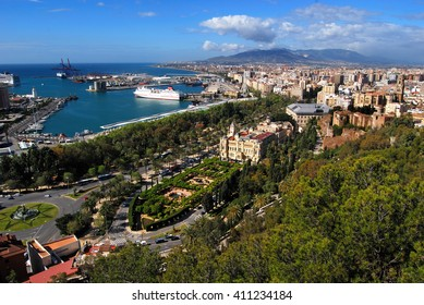 Malaga, Spain - 13.4.2016: Arial view of Port of Malaga and the City Hall with Pedro Luis Alonso Gardens in front.