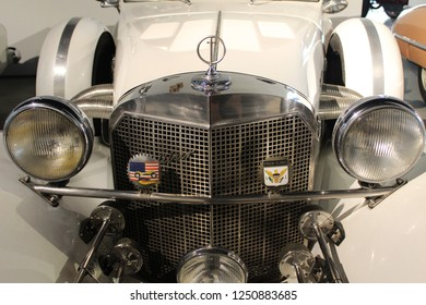 MALAGA, SPAIN - 2 DECEMBER, 2018: Detail of Excalibur car. The Excalibur automobile was a car styled after the 1928 Mercedes-Benz SSK by Brooks Stevens for Studebaker.