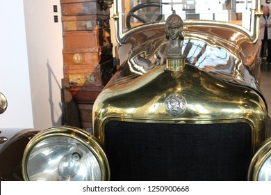 MALAGA, SPAIN - 2 DECEMBER, 2018: Minerva antique car. The Minerva was a prominent Belgian luxury automobile manufactured from 1902 until 1938.
