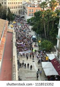 Malaga, Spain - 22 June, 2018: Protests in Malaga over La Manada verdict