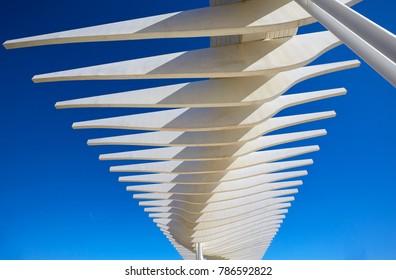 MALAGA SPAIN - 30TH  JANUARY 2015; Architectural detail of the 'Palmeral de las Sorpresas' promenade along the port of Malaga