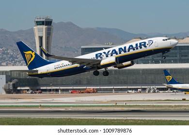MALAGA, SPAIN - 7 JUNE : Ryanair Boeing 737-800 at Malaga Airport. June 7, 2017.