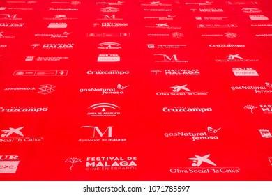 Malaga, Spain - April 17, 2018. Red carpet background from anual film festival Cine en Espanol, Malaga city, Spain