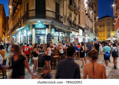 Malaga, Spain - August 04 2017: Nightlife in the city centre