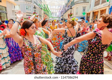 Malaga, Spain - August 11, 2012: Feria de Malaga is an annual event that takes place in mid-August and is one of the largest fiestas in Spain.