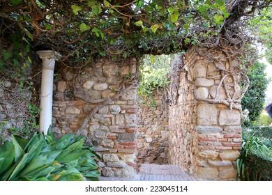 MALAGA, SPAIN- AUGUST 23, 2014: Alcazaba castle on Gibralfaro mountain. Malaga, Andalusia, Spain. The place is declared UNESCO World Heritage Site