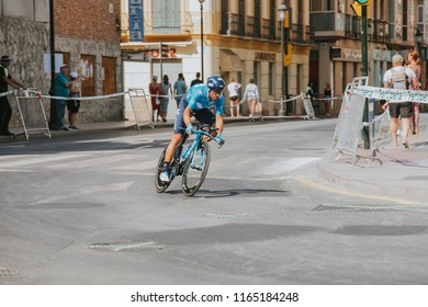 MALAGA, SPAIN - August 25th, 2018: Alejandro Valverde from Movistar Cycling Team, during first stage of La Vuelta 2018 in the city of Malaga, Spain.