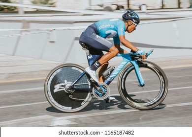 MALAGA, SPAIN - August 25th, 2018: Nairo Quintana from Movistar Cycling Team, training before first stage of La Vuelta 2018 in the city of Malaga, Spain.