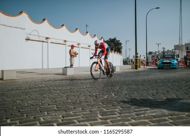 MALAGA, SPAIN - August 25th, 2018: Dylan van Baarle, from Sky Cycling Team, during first stage of La Vuelta 2018 in the city of Malaga, Spain.