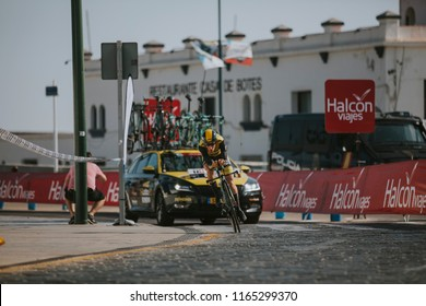 MALAGA, SPAIN - August 25th, 2018: Floris De Tier, from Lotto NL-Jumbo Cycling Team, during first stage of La Vuelta 2018 in the city of Malaga, Spain.