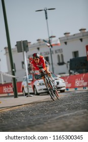 MALAGA, SPAIN - August 25th, 2018: Jelle Wallays, from Lotto Soudal Cycling Team, during first stage of La Vuelta 2018 in the city of Malaga, Spain.