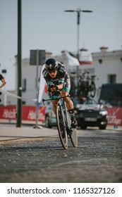 MALAGA, SPAIN - August 25th, 2018: Lukas Pöstlberger, from Bora-Hansgrohe Cycling Team, during first stage of La Vuelta 2018 in the city of Malaga, Spain.