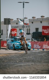 MALAGA, SPAIN - August 25th, 2018: Salvatore Puccio, from SKY Cycling Team, during first stage of La Vuelta 2018 in the city of Malaga, Spain.