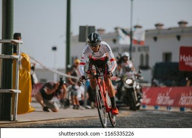 MALAGA, SPAIN - August 25th, 2018: Pablo Torres, from Burgos Bh Cycling Team, during first stage of La Vuelta 2018 in the city of Malaga, Spain.