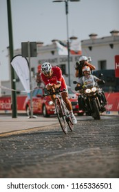 MALAGA, SPAIN - August 25th, 2018: Nacer Bouhanni, from Cofidis Cycling Team, during first stage of La Vuelta 2018 in the city of Malaga, Spain.