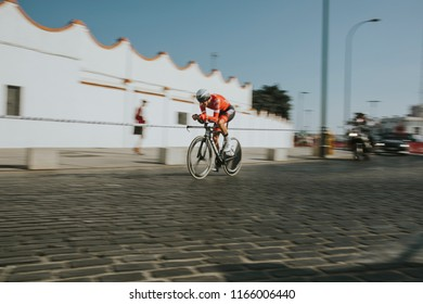 MALAGA, SPAIN - August 25th, 2018: Bauke Mollema, from Trek Segafredo Cycling Team, during first stage of La Vuelta 2018 in the city of Malaga, Spain.