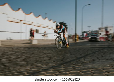 MALAGA, SPAIN - August 25th, 2018: Julien Duval, from AG2R La Mondiale, during first stage of La Vuelta 2018 in the city of Malaga, Spain.